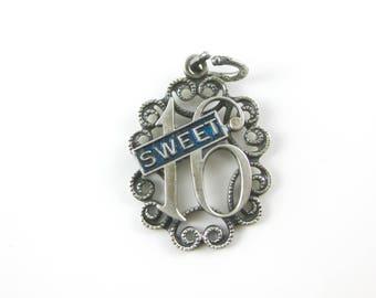 Vintage Blue Enamel Sterling Silver Sweet 16 Heart Charm