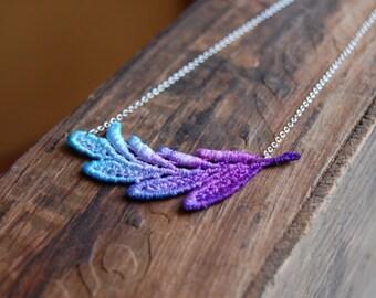 Ombre Dip Dye Leaf Venice Lace Necklace-Purple and Blue Ombre