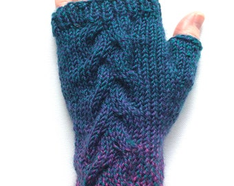 Fingerless Gloves for Women, Teen Girls, Texting Gloves, one of a kind, cable pattern, magenta teal wool gloves, Tahitian Martini
