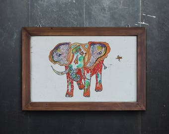 Elephant Art - Art Print - Elephant - Animal Art Print - 13 x 19, 8 x 10, 11 x 14  limited edition Wall Art