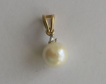 8mm Akoya Salt Water Pearl Pendant, diamond accent, solid 14K Y Gold Bail & setting, free US first class shipping on vintage items