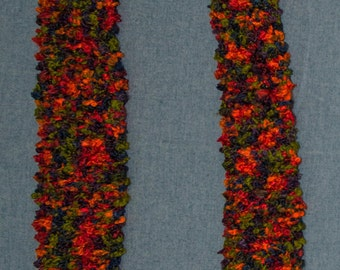 Hand Knit Boy's or Girl's Scarf. Fall Colors of Red, Orange, Rust, Green, Blue