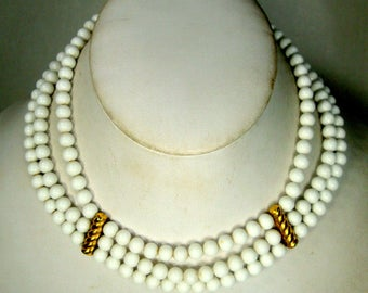 3 Strands White Glass Bead Classic Choker  Necklace, 1960s ,  Gold Metal Accents and Adjustable Length Chain