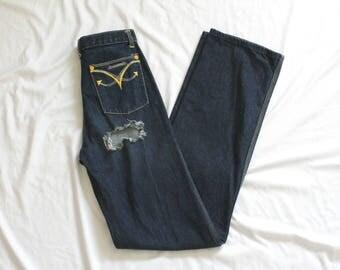 "1970s Landlubber Distressed Denim   Vintage 70s High Rise Cheeky Blue Jeans   23x34 23""w XXS Long"