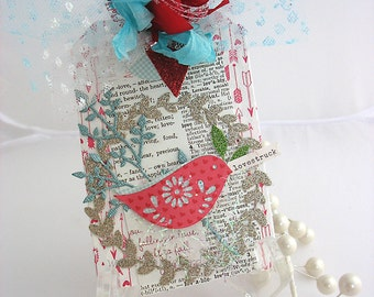 Sparkling Songbird Valentine Wreath XL Deluxe Collage Art Gift Tags~Pink~Red~Turquoise~White~Hang Tag~arty tags~heart~bird