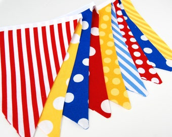 Primary Color Birthday Party Bunting Banner in Red, Yellow, Royal Blue -- Stripes & Polka Dots Decoration -- Cloth, Fabric Flags