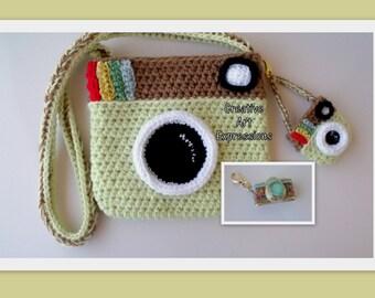 Camera Purse, Pistache Green, Brown, Camera Bag, Camera Bag Purse, Stylish Camera Bag, Crochet, Fashion Camera Bag, Cute Camera Bag