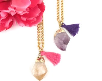 amethyst necklace with tassel - quartz stone necklace - layering boho-chic necklaces - gold dipped jewelry - gift for her - women's gift