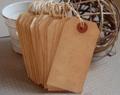 "Medium Tea Stained Tags Strung-3 3/4"" x 1 7/8""-Set of 25-Place Card-Escort Card-Wedding-Rustic-Vintage-Seating-Barn-Favors-Ready to Ship"