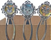 BOOKMARK - Whimsy original illustration art silver coloured metal bookmark.