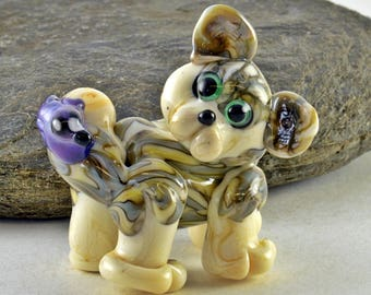 BEST FRIENDS cat and bird glass sculpture  lampwork glass bead, whimisical lampwork focal bead, Izzybeads SRA