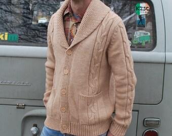 Vintage Men's Tan Knit Cardigan Sweater