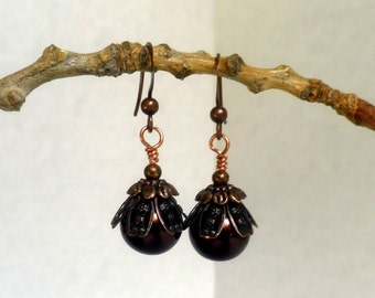 Vintage-style Chocolate Copper Pearl Earrings, dangle