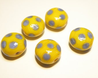 DESTASH -- Five (5) Opaque Glass Polka Dot Lentil Beads - Golden Yellow and Periwinkle Blue --- Lot 3J