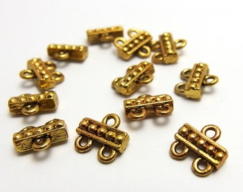 last stock / A604GA / 8Pc / 10mmx9.5mmx3.8mm - Antique Gold Plated 2-to-1hole Multistrands Cast Connectors Findings