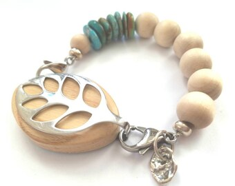 Bella Beat Urban Accessory - Kingman Turquoise with wood beads .925 sterling silver beads and charm