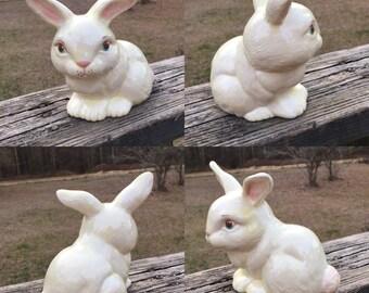 Ceramic Bunny Figurine--Big Ears Rabbit--Easter Decor--Mid Century Woodland Creature--Garden Decoration--Easter Basket Filler