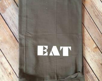 EAT dish towel, flour sack dish towel