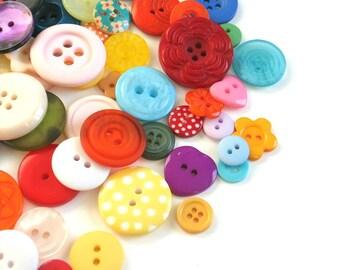 50 x Mixed Craft Buttons, Sewing Buttons, Mixed Button Sizes, Button Assortment Scrapbook Buttons, Polka Dot Buttons, Batch 004