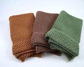 Dishcloths Knit in Cotton in Mission Oak, Saffron and Pesto