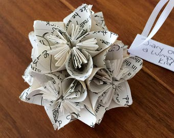Diary of a Wimpy Kid Book Small Paper Flower Pomander Ornament