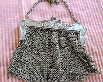 Vintage German Silver Handbag - Antique Chain Mail Handbag - Silver Art Nouveau Handbag