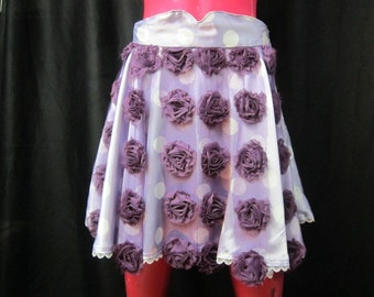 Sale! OOAK Short Polka Dot Circle Skirt with Rose Mesh Accents - Twirly Purple Lavender and White Circle Skirt - Updated 1950's Style Purple