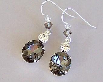 Black diamond earrings, sparkly grey vintage glass dangles, Swarovski crystal, silver gray glass earrings, grey bridal earrings, wedding