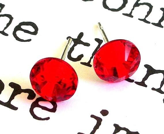 Swarovski crystal red stud earrings, 7mm light siam crystal posts, Swarovski red bridal studs, bright red wedding earrings, Mother's Day