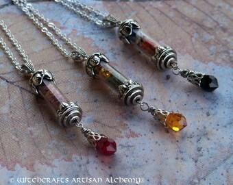 "SPIRIT OF MAGIC™ Custom Crystal Charmed Alchemy Pendant Necklace - Swarovski Crystal, 24"" Silver Plate Chain, Black Velvet Jewelry Gift Bag"