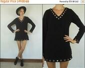 END OF 2016 SALE Vintage 90s does 60's Mod Black Studded A line Grunge Gogo Tunic Mini dress S
