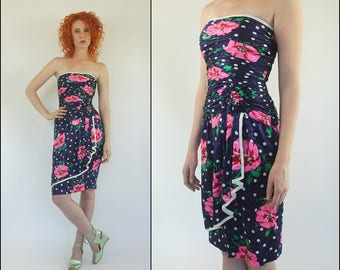 Vintage 80s A.J. Bari Silk Ruffle Floral Polka dot Ruched Strapless Party Bandage Bodycon Mini dress XS S