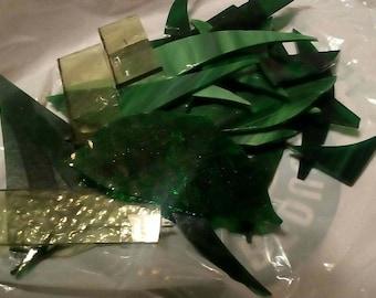 Green scrap glass for mosaics... Small flat rate box