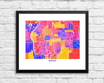 Wichita, Kansas Art Map Print.  Choose your colors and size. Clean Home Decor for your Home or Office.  Map of Wichita, KS.