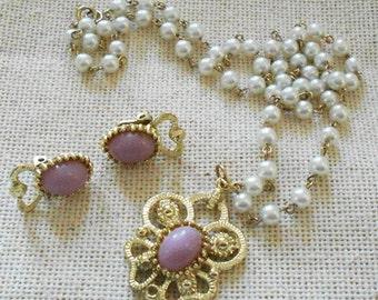 Pretty Pink & Pearl Costume Jewelry Set