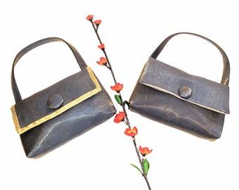 Neutral Grey Silk Organza Evening Bag