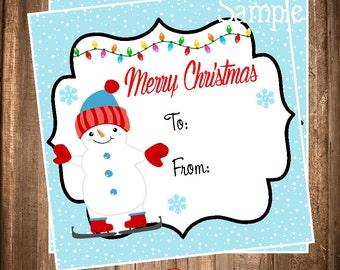 Snowman Gift Tags, Printable Snowman Hang Tags, Instant Download Favor Tags, Digital Snowman Tag DIY