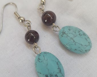 Oval Turquoise and Navy drop dangle  Earrings