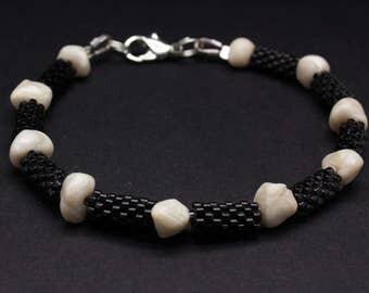 Black Miyuki and White Polymer Clay Beaded Bracelet