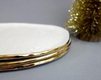 """Gold Rimmed White Faux Bois Oval Platter 11""""x9"""" Handmade White Stoneware Ceramic"""