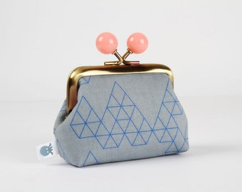 Metal frame coin purse with color bobbles - Geo drops in denim - Color mum / Cotton and Steel / Rashida Coleman Hale / grey blue peach pink