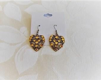 Sparkly Topaz Crystal Heart Dangle Earrings