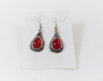 Red Tear Drop & Black Rhinestones Silver Tone Dangle Earrings
