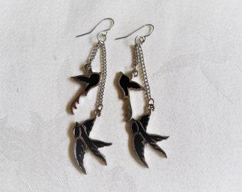 Black Double Side Enamel Silver Tone Sparrow Dangle Earrings