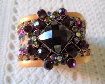 Sparkling Multi Color Rhinestones Animal Print Cuff Bracelet