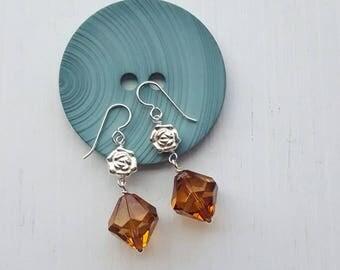 sazerac earrings - vintage lucite sterling silver - whiskey brown - roses flowers