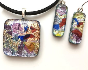 Fused Dichroic Glass Necklace and Earrings Set - Pink Gold Necklace - Necklace and Earrings - Fused Glass Jewellery Set - EP  566