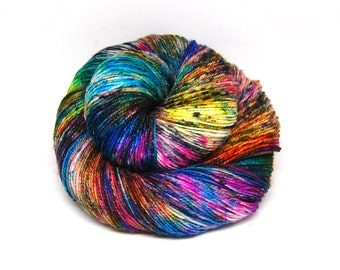 "Glam Rock Sparkle Sock Yarn - ""Supernova"" -  Handpainted Superwash Merino - 438 Yards"