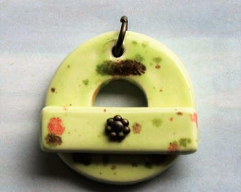 Melon Green Speckles - Jewelry Clasp - Large Ceramic Circle Focal Toggle Clasp