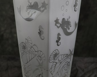 Mermaid Seahorse and Seashell Etched Tall Square style Candle holder or Vase